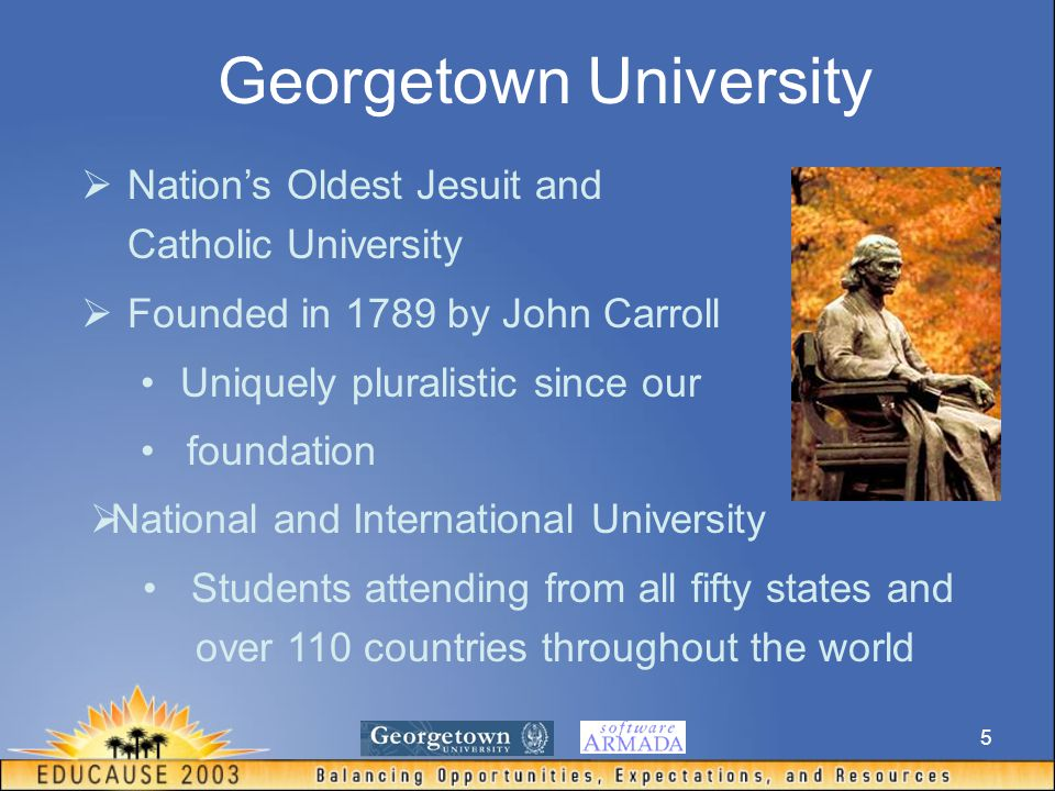 5 Georgetown University  Nation's Oldest Jesuit and Catholic University  Founded in 1789 by John Carroll Uniquely pluralistic since our foundation  National and International University Students attending from all fifty states and over 110 countries throughout the world