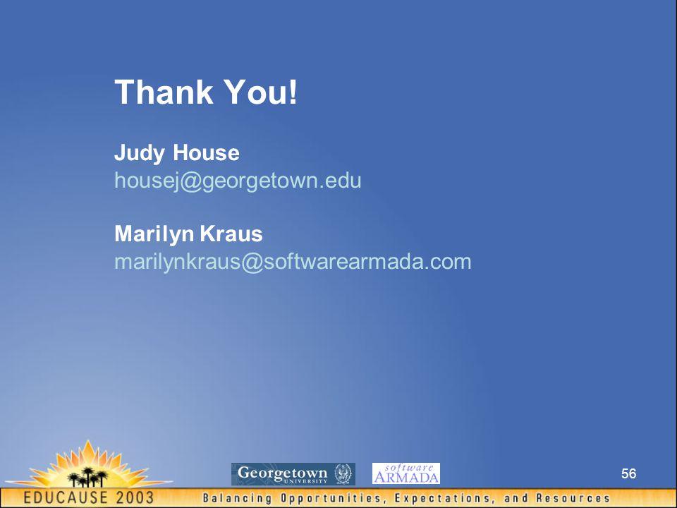 56 Thank You! Judy House housej@georgetown.edu Marilyn Kraus marilynkraus@softwarearmada.com