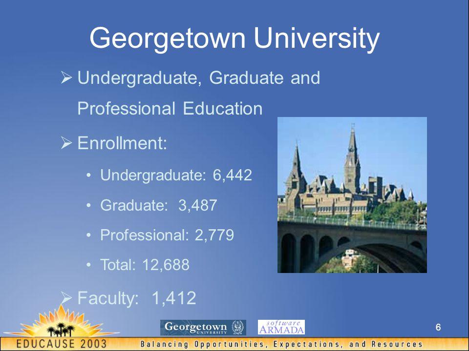 6 Georgetown University  Undergraduate, Graduate and Professional Education  Enrollment: Undergraduate: 6,442 Graduate: 3,487 Professional: 2,779 Total: 12,688  Faculty: 1,412
