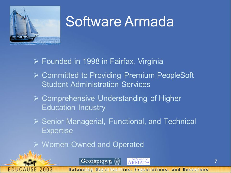 7  Founded in 1998 in Fairfax, Virginia  Committed to Providing Premium PeopleSoft Student Administration Services  Comprehensive Understanding of Higher Education Industry  Senior Managerial, Functional, and Technical Expertise  Women-Owned and Operated Software Armada