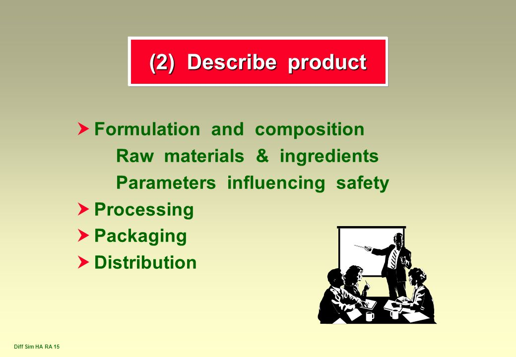 Diff Sim HA RA 15 (2) Describe product  Formulation and composition Raw materials & ingredients Parameters influencing safety  Processing  Packagin