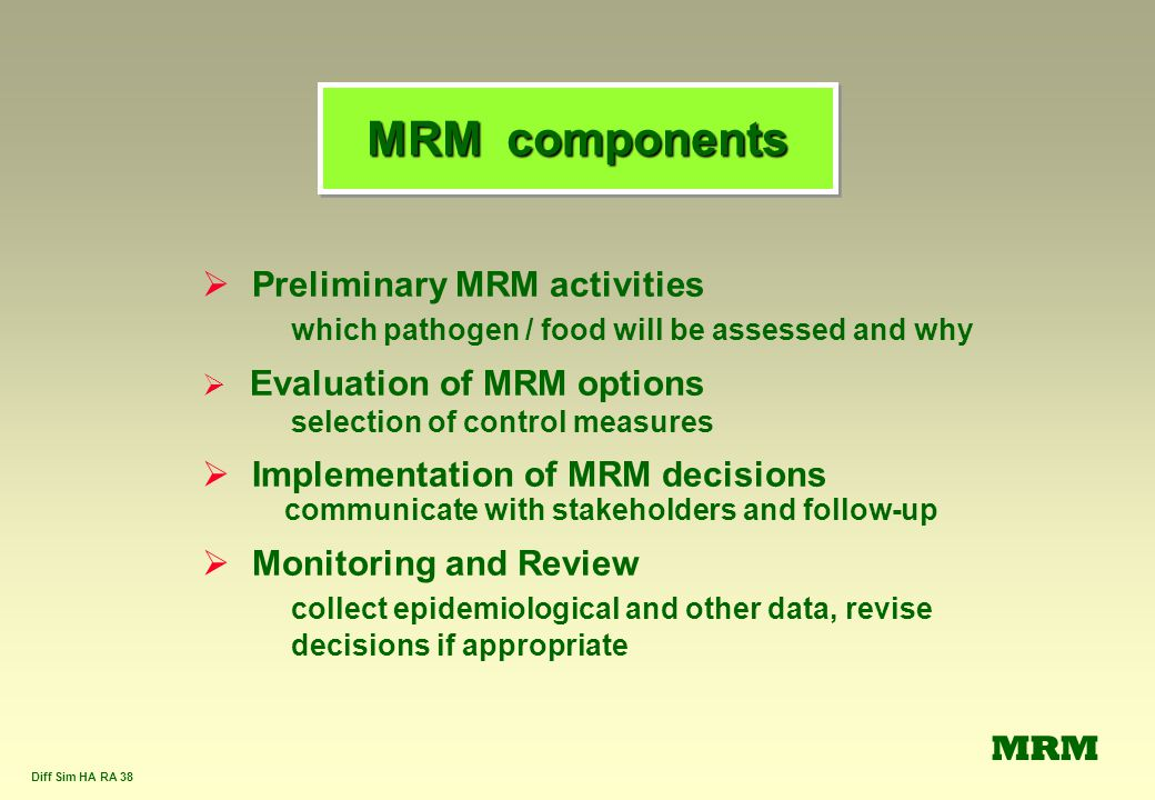 Diff Sim HA RA 38 MRM components  Preliminary MRM activities which pathogen / food will be assessed and why  Evaluation of MRM options selection of