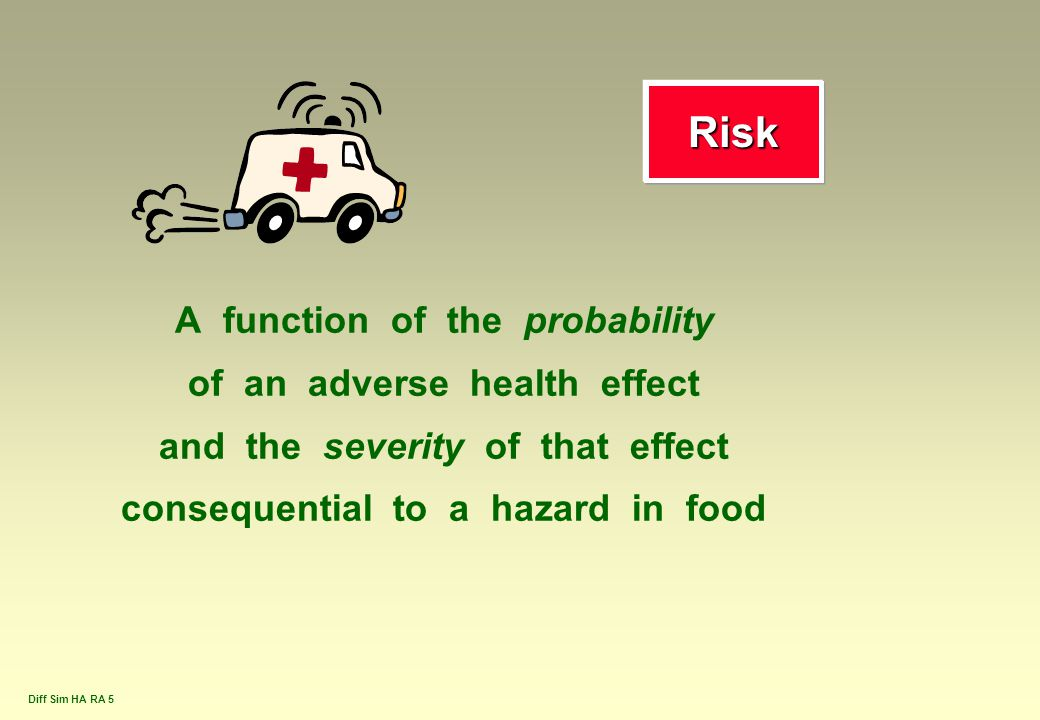 Diff Sim HA RA 5 RiskRisk A function of the probability of an adverse health effect and the severity of that effect consequential to a hazard in food