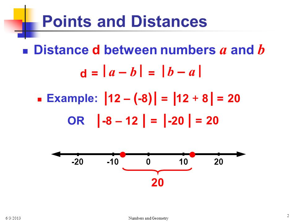 6/3/2013 Numbers and Geometry 3 Distance d between points Example: Find the distance between points (-5,-3) and (8,6) x y Points and Distances   (-5,-3) (8,6)  d (8,-3) a b a = | 8 –(-5) b = | 6 – (-3) = 13 a2a2 = 13 2 = 9 b2b2 = 9292 = 81 = 169 + 81 a2a2 b2b2 + = 169 = 250