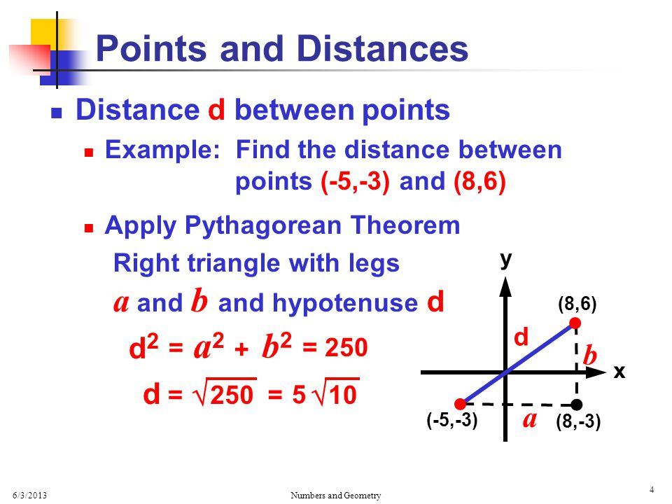 6/3/2013 Numbers and Geometry 5 Distance d between points Example: Find the distance between points (-5,-3) and (8,6) x y Points and Distances   (-5,-3) (8,6)  d (8,-3) =10  5 ≈ 5 (3.16) 250  = d a b = 15.8 d
