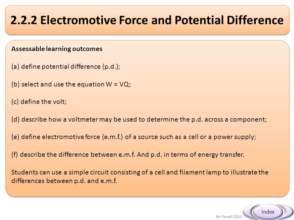 Mr Powell 2012 Index 2.2.2 Electromotive Force and Potential Difference Assessable learning outcomes (a) define potential difference (p.d.); (b) selec