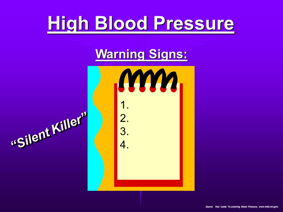 "Source: Your Guide To Lowering Blood Pressure, www.nhlbi.nih.govc High Blood Pressure Warning Signs: 1. 2. 3. 4. ""Silent Killer"""