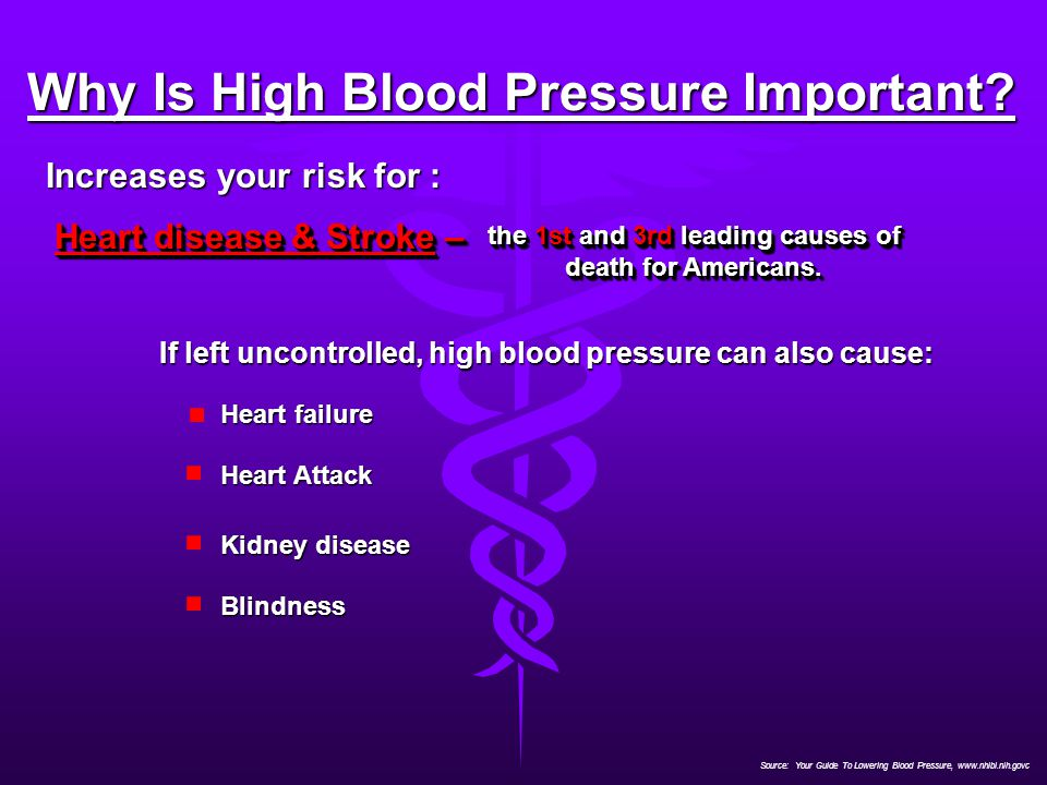Source: Your Guide To Lowering Blood Pressure, www.nhlbi.nih.govc Why Is High Blood Pressure Important? Increases your risk for : Heart disease & Stro