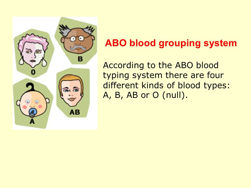 According to the ABO blood typing system there are four different kinds of blood types: A, B, AB or O (null). ABO blood grouping system