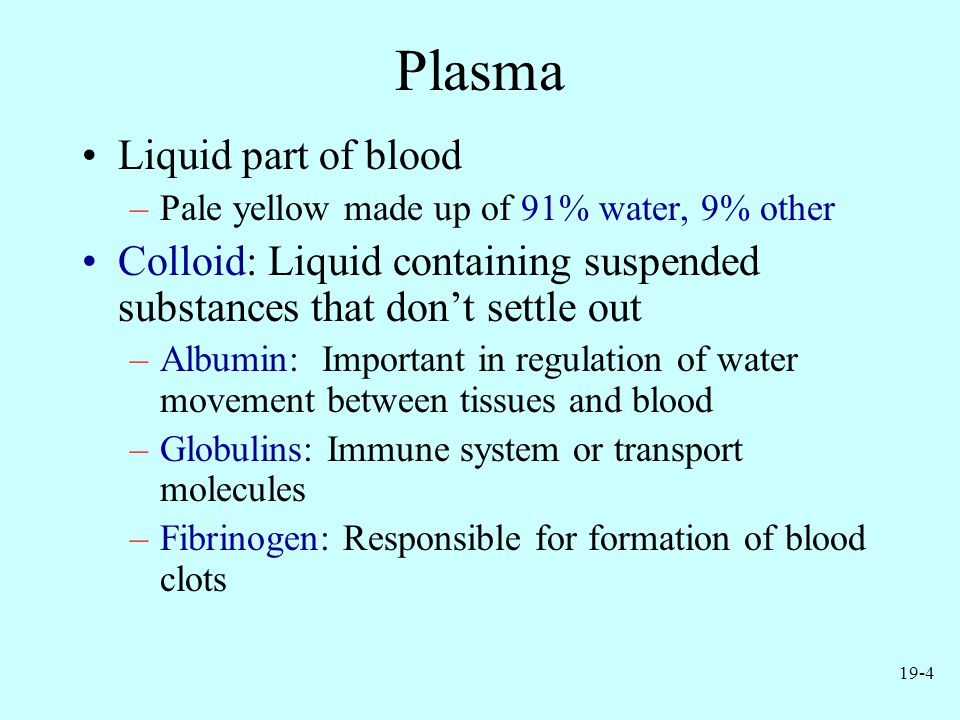 19-4 Plasma Liquid part of blood –Pale yellow made up of 91% water, 9% other Colloid: Liquid containing suspended substances that don't settle out –Al
