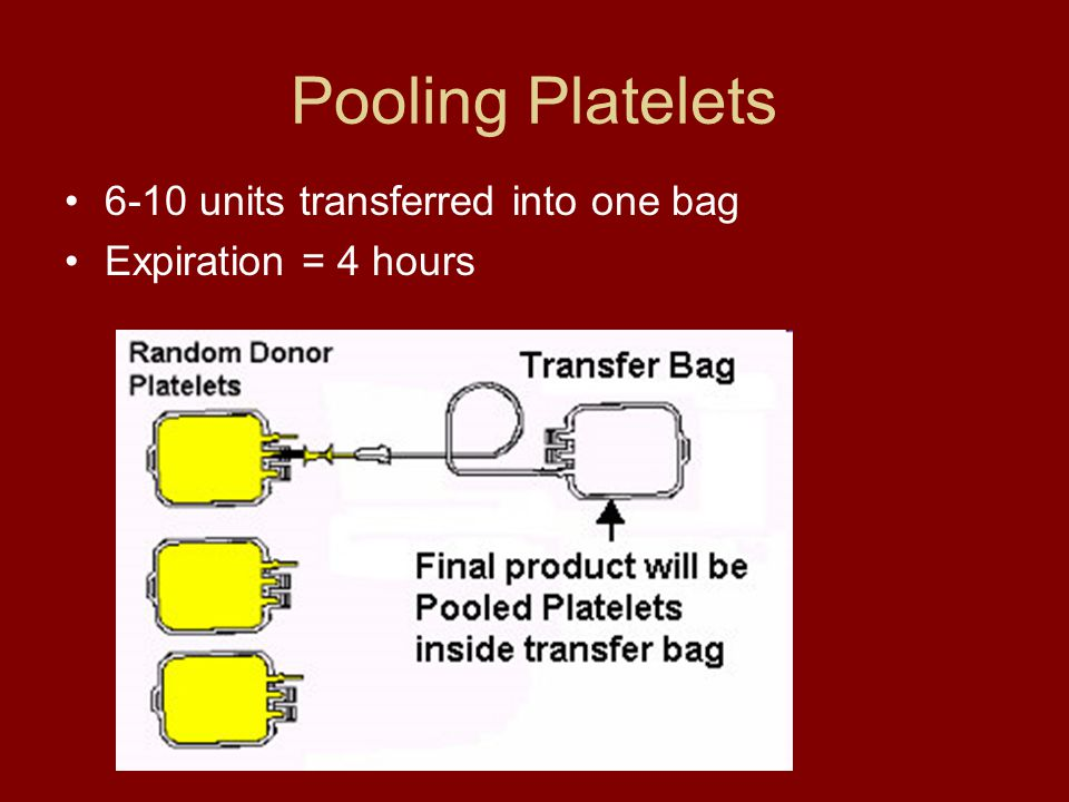Pooling Platelets 6-10 units transferred into one bag Expiration = 4 hours