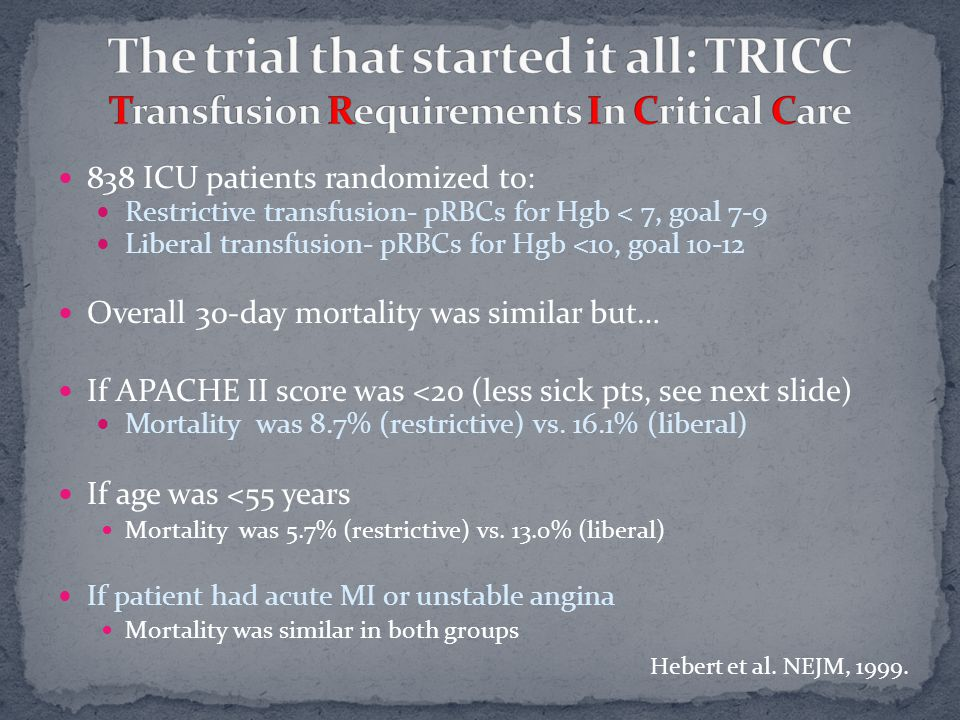 838 ICU patients randomized to: Restrictive transfusion- pRBCs for Hgb < 7, goal 7-9 Liberal transfusion- pRBCs for Hgb <10, goal 10-12 Overall 30-day mortality was similar but… If APACHE II score was <20 (less sick pts, see next slide) Mortality was 8.7% (restrictive) vs.