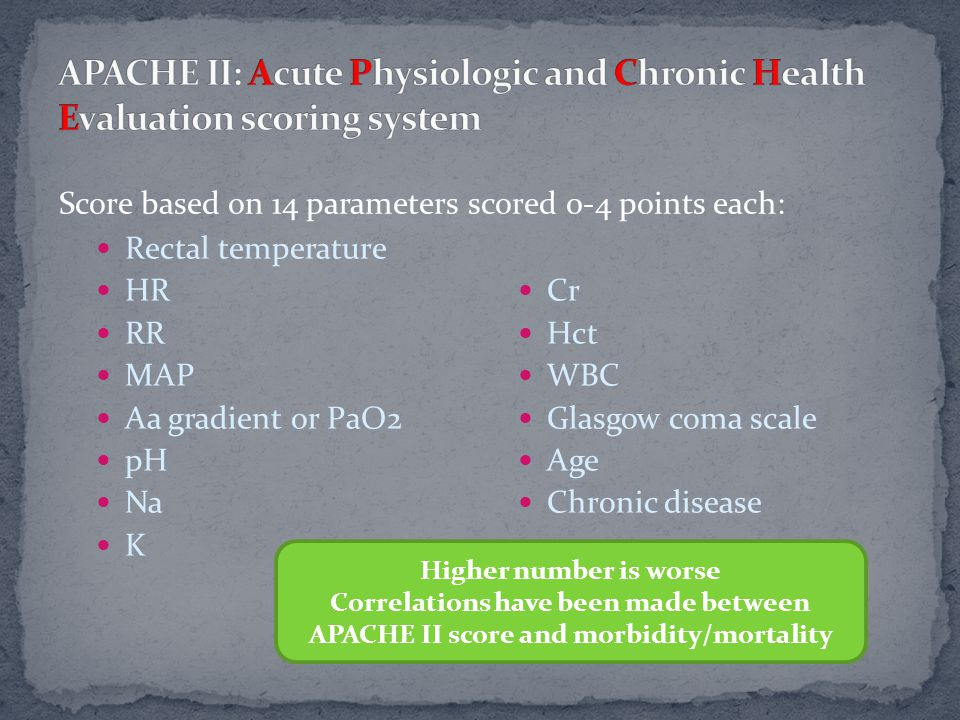 Rectal temperature HR RR MAP Aa gradient or PaO2 pH Na K Cr Hct WBC Glasgow coma scale Age Chronic disease Higher number is worse Correlations have been made between APACHE II score and morbidity/mortality Score based on 14 parameters scored 0-4 points each: