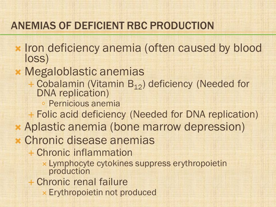 ANEMIAS OF DEFICIENT RBC PRODUCTION  Iron deficiency anemia (often caused by blood loss)  Megaloblastic anemias  Cobalamin (Vitamin B 12 ) deficiency (Needed for DNA replication) º Pernicious anemia  Folic acid deficiency (Needed for DNA replication)  Aplastic anemia (bone marrow depression)  Chronic disease anemias  Chronic inflammation  Lymphocyte cytokines suppress erythropoietin production  Chronic renal failure  Erythropoietin not produced