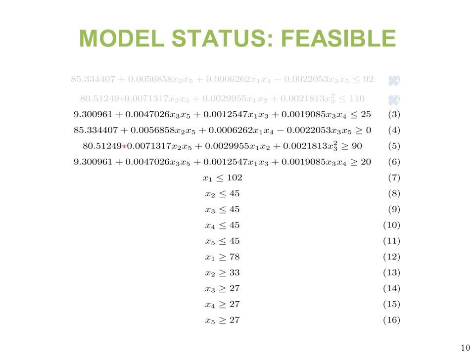 10 MODEL STATUS: FEASIBLE