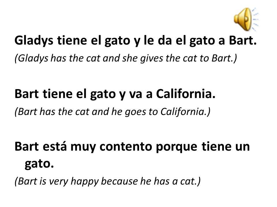Le habla: (He talks to her:) -¡Hola! Tengo un problema. No tengo un gato. (Hi! I have a problem. I don't have a cat. Quiero un gato. ¿Tienes un gato e