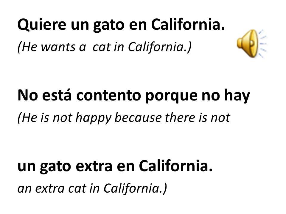 Bart no está contento. (Bart is not happy/content) No tiene un gato. (He does not have a cat.) Quiere tener un gato. (He wants to have a cat.) Va a Go