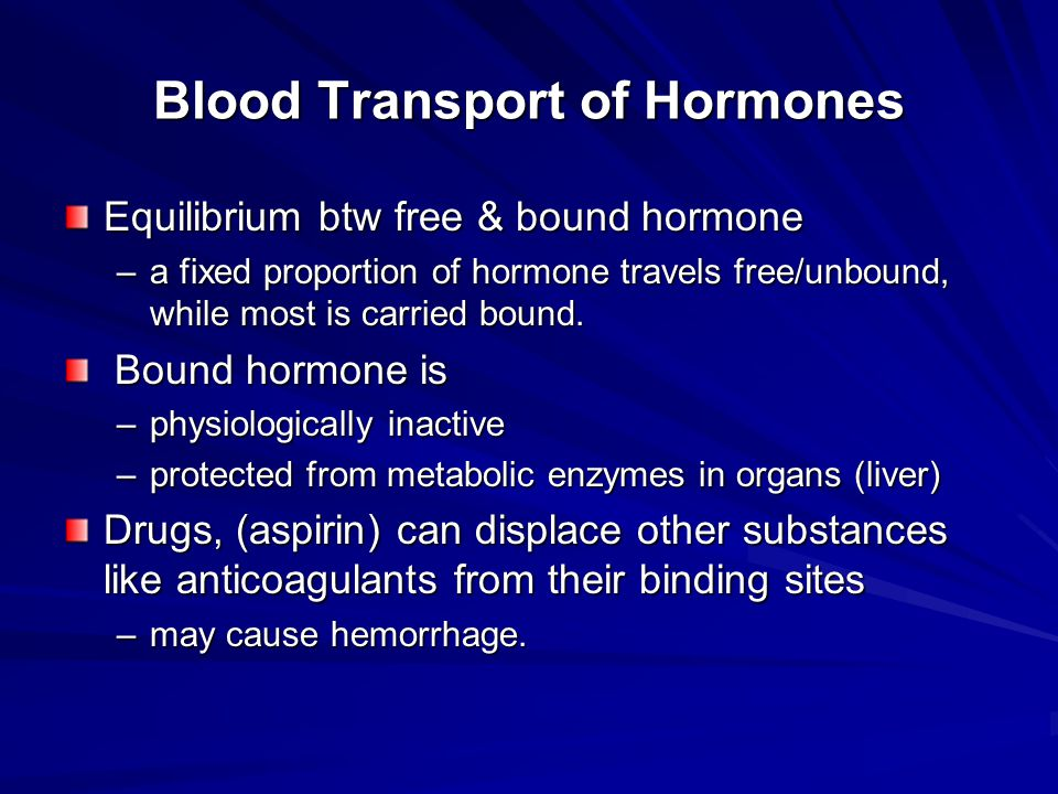 Blood Transport of Hormones Equilibrium btw free & bound hormone –a fixed proportion of hormone travels free/unbound, while most is carried bound. Bou