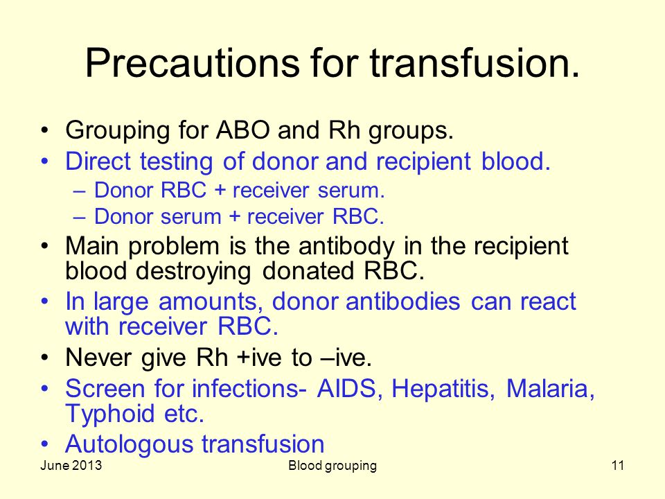 June 2013Blood grouping11 Precautions for transfusion. Grouping for ABO and Rh groups. Direct testing of donor and recipient blood. –Donor RBC + recei