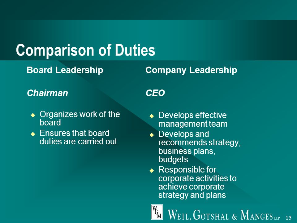 15 Comparison of Duties  Board Leadership  Chairman u Organizes work of the board u Ensures that board duties are carried out  Company Leadership  CEO u Develops effective management team u Develops and recommends strategy, business plans, budgets u Responsible for corporate activities to achieve corporate strategy and plans