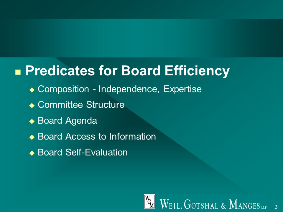 3 Predicates for Board Efficiency u Composition - Independence, Expertise u Committee Structure u Board Agenda u Board Access to Information u Board Self-Evaluation