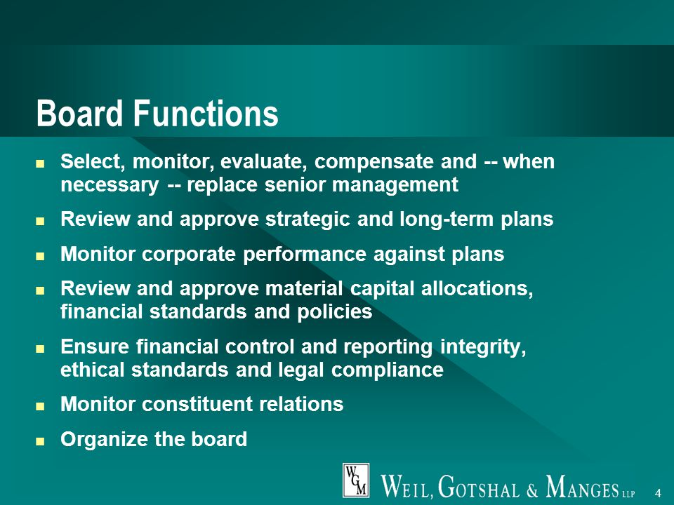 15 Comparison of Duties  Board Leadership  Chairman u Organizes work of the board u Ensures that board duties are carried out  Company Leadership  CEO u Develops effective management team u Develops and recommends strategy, business plans, budgets u Responsible for corporate activities to achieve corporate strategy and plans