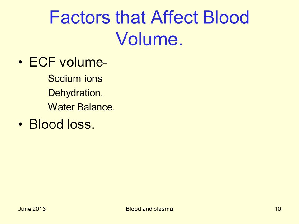 June 2013Blood and plasma10 Factors that Affect Blood Volume.