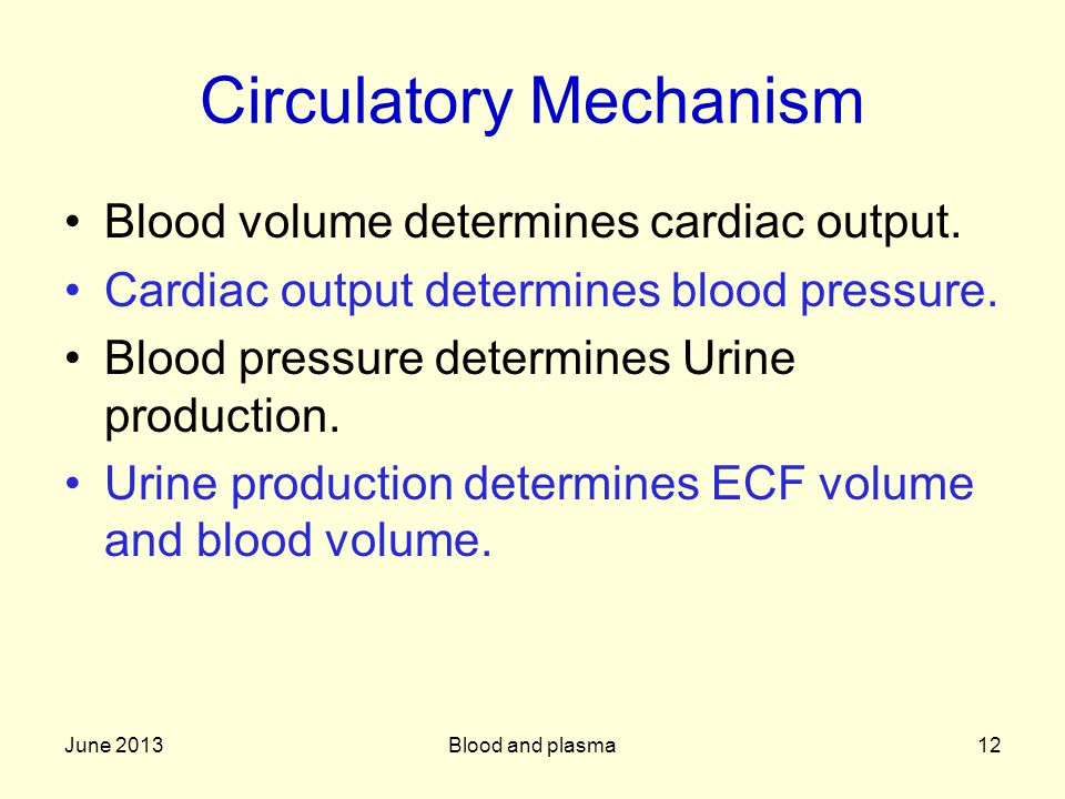 June 2013Blood and plasma12 Circulatory Mechanism Blood volume determines cardiac output.