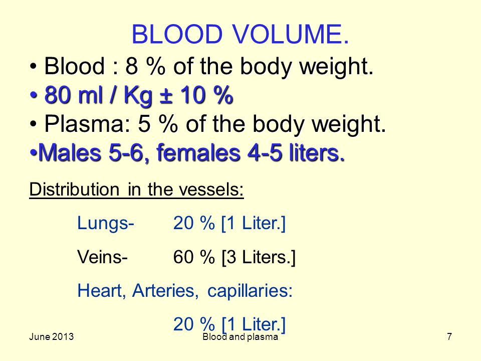 June 2013Blood and plasma7 BLOOD VOLUME. Blood :8 % of the body weight.