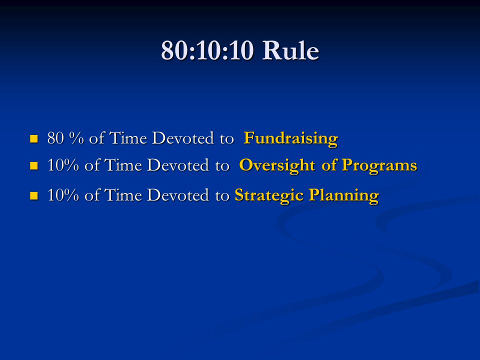 80:10:10 Rule 80 % of Time Devoted to Fundraising 80 % of Time Devoted to Fundraising 10% of Time Devoted to Oversight of Programs 10% of Time Devoted