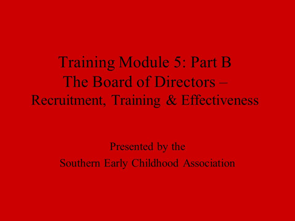 Training Module 5: Part B The Board of Directors – Recruitment, Training & Effectiveness Presented by the Southern Early Childhood Association