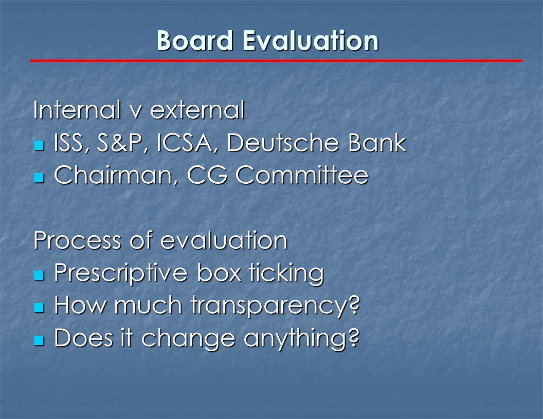 Board Evaluation Internal v external ISS, S&P, ICSA, Deutsche Bank ISS, S&P, ICSA, Deutsche Bank Chairman, CG Committee Chairman, CG Committee Process of evaluation Prescriptive box ticking Prescriptive box ticking How much transparency.