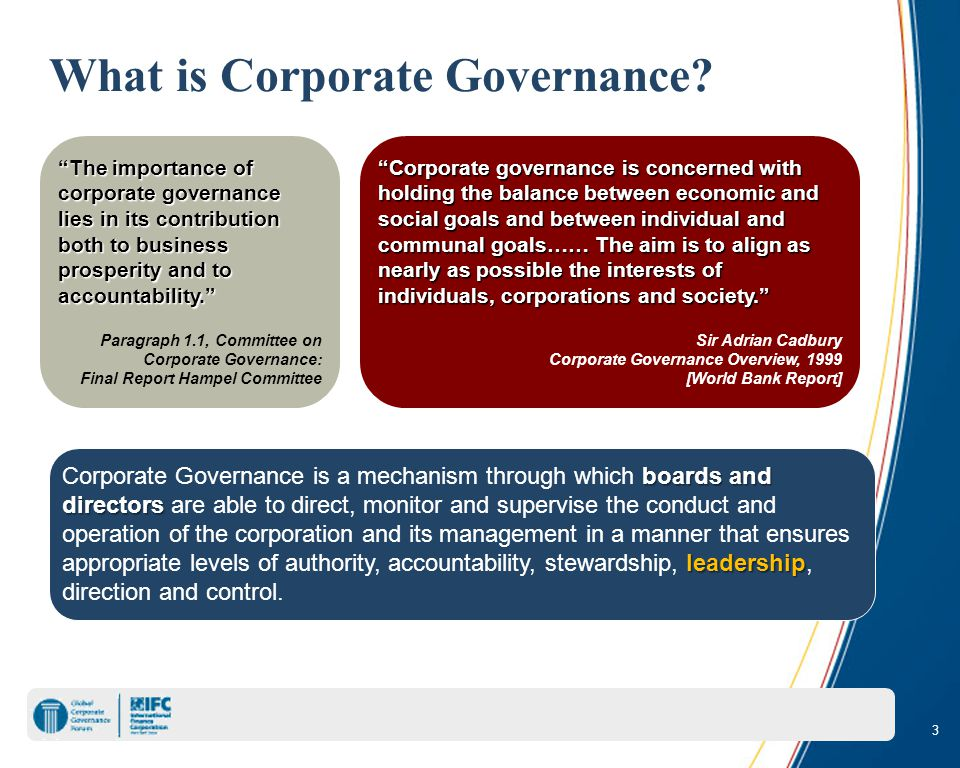 3 What is Corporate Governance.