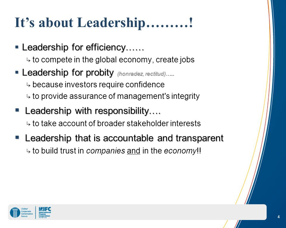 4 It's about Leadership……….
