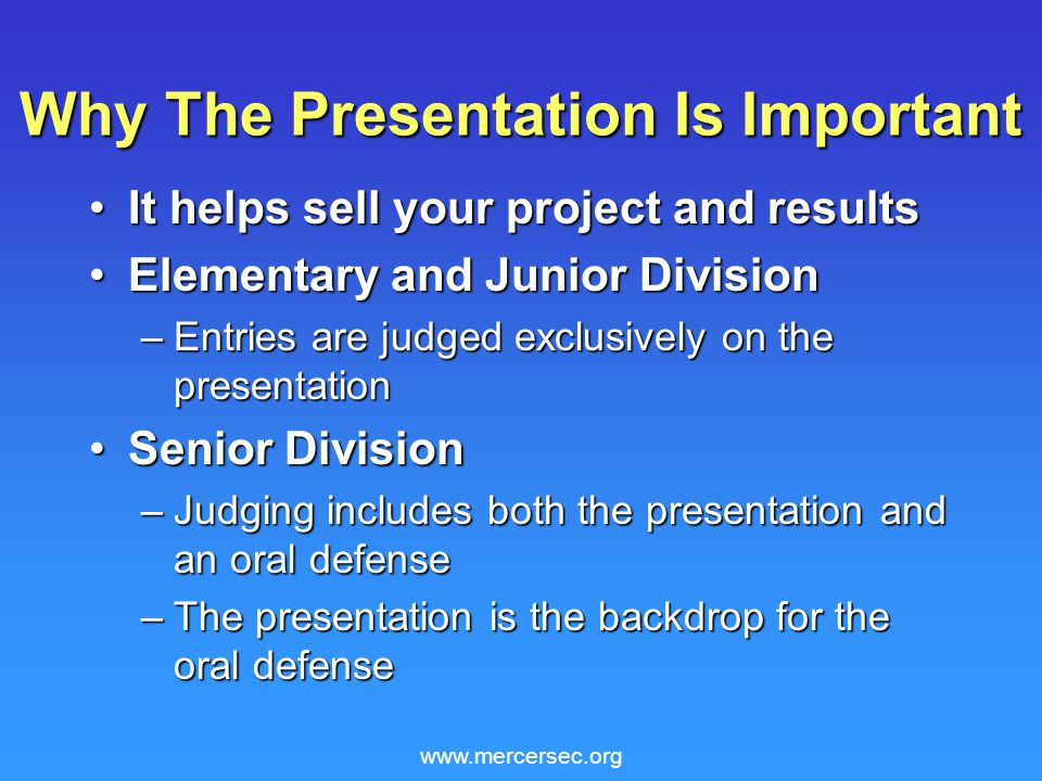 www.mercersec.org Video Presentations The board should not require the video presentationThe board should not require the video presentation Do not duplicate board contents in presentationDo not duplicate board contents in presentation Video presentation should show something that is more easily explained using a movie or animation versus a figure or photoVideo presentation should show something that is more easily explained using a movie or animation versus a figure or photo Do not include video presentation if it is unnecessaryDo not include video presentation if it is unnecessary Keep video presentation simple and shortKeep video presentation simple and short Video presentation should run automaticallyVideo presentation should run automatically
