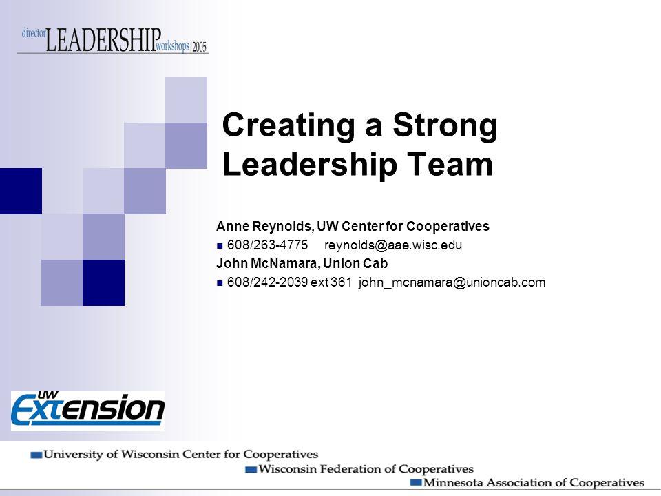 Creating a Strong Leadership Team Anne Reynolds, UW Center for Cooperatives 608/263-4775 reynolds@aae.wisc.edu John McNamara, Union Cab 608/242-2039 ext 361 john_mcnamara@unioncab.com