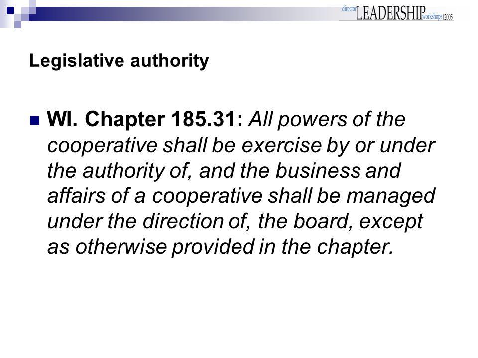 Legislative authority WI.