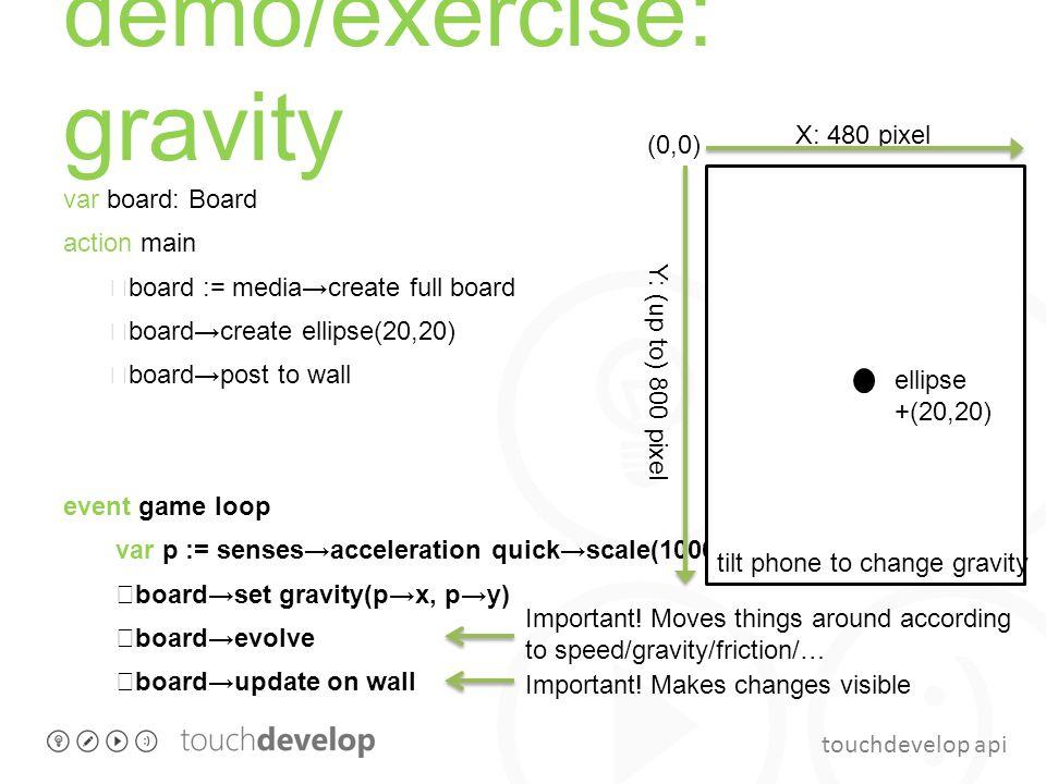 touchdevelop api demo/exercise: gravity var board: Board action main board := media→create full board board→create ellipse(20,20) board→post to wall e