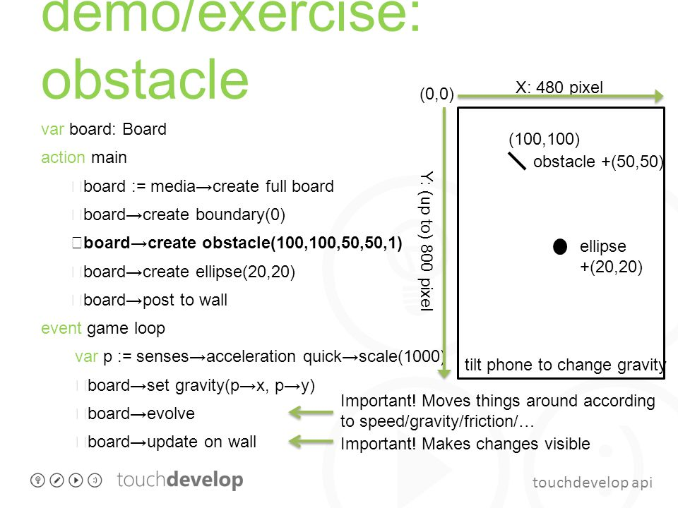 touchdevelop api demo/exercise: obstacle var board: Board action main board := media→create full board board→create boundary(0) board→create obstacle(