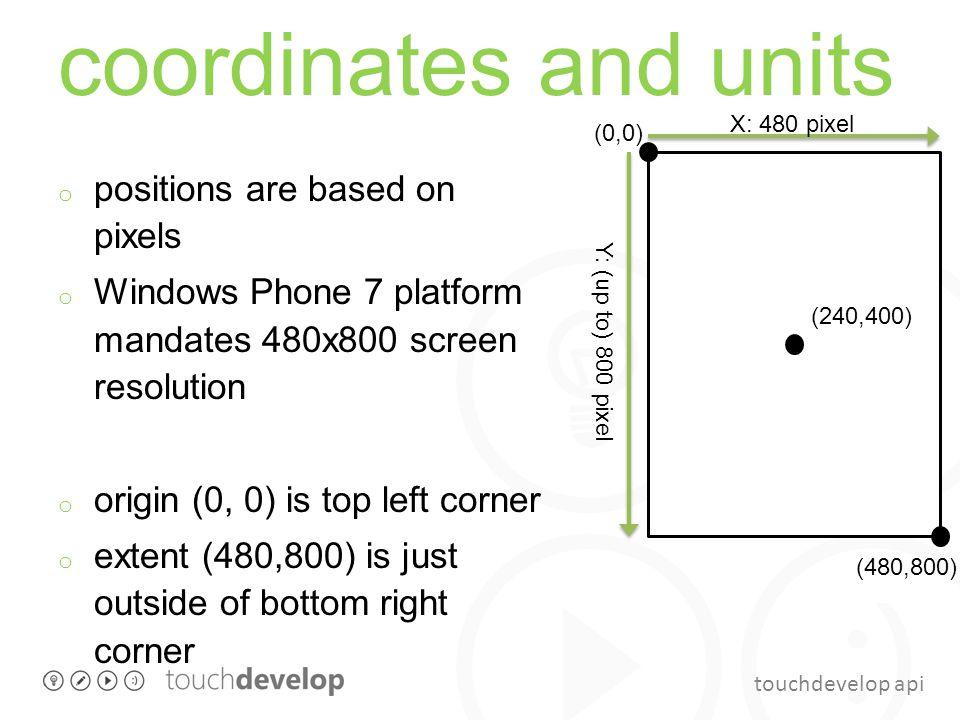 touchdevelop api coordinates and units o positions are based on pixels o Windows Phone 7 platform mandates 480x800 screen resolution o origin (0, 0) i