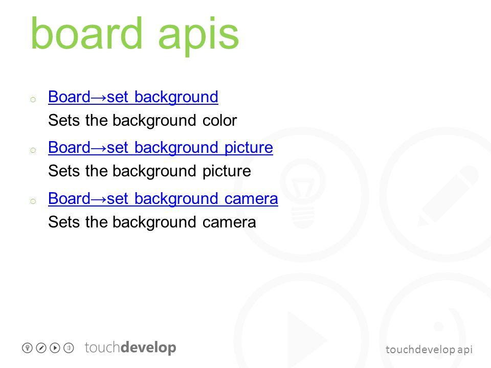 touchdevelop api board apis o Board→set background Sets the background color Board→set background o Board→set background picture Sets the background p
