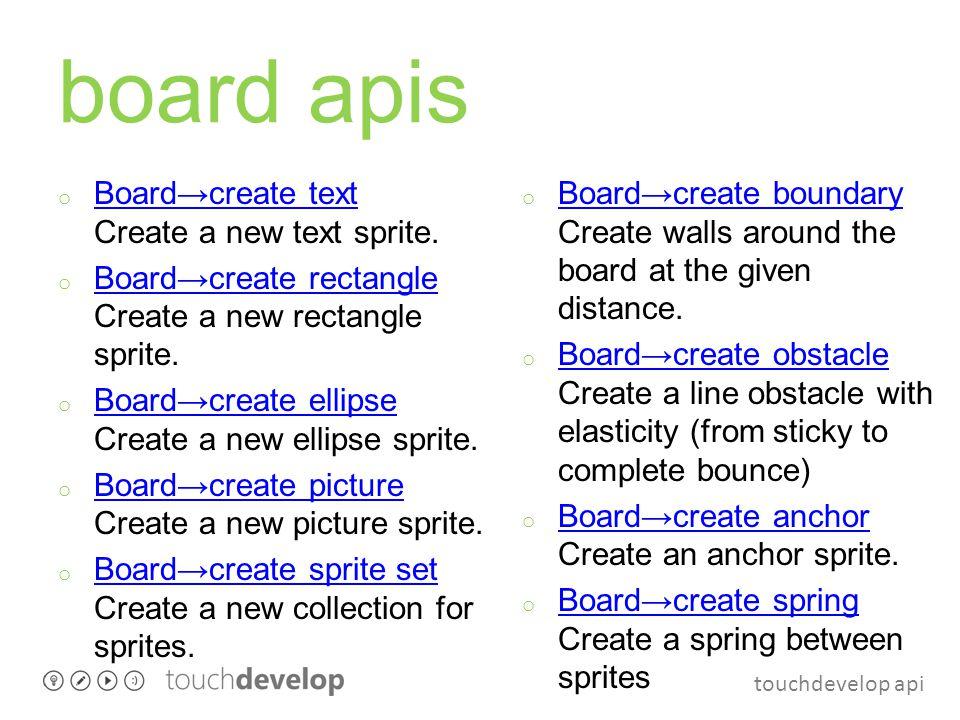 touchdevelop api board apis o Board→create text Create a new text sprite. Board→create text o Board→create rectangle Create a new rectangle sprite. Bo