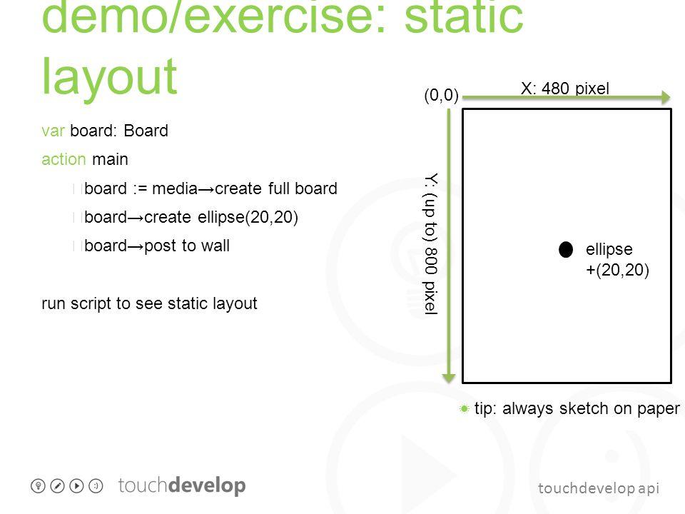 touchdevelop api demo/exercise: static layout var board: Board action main board := media→create full board board→create ellipse(20,20) board→post to