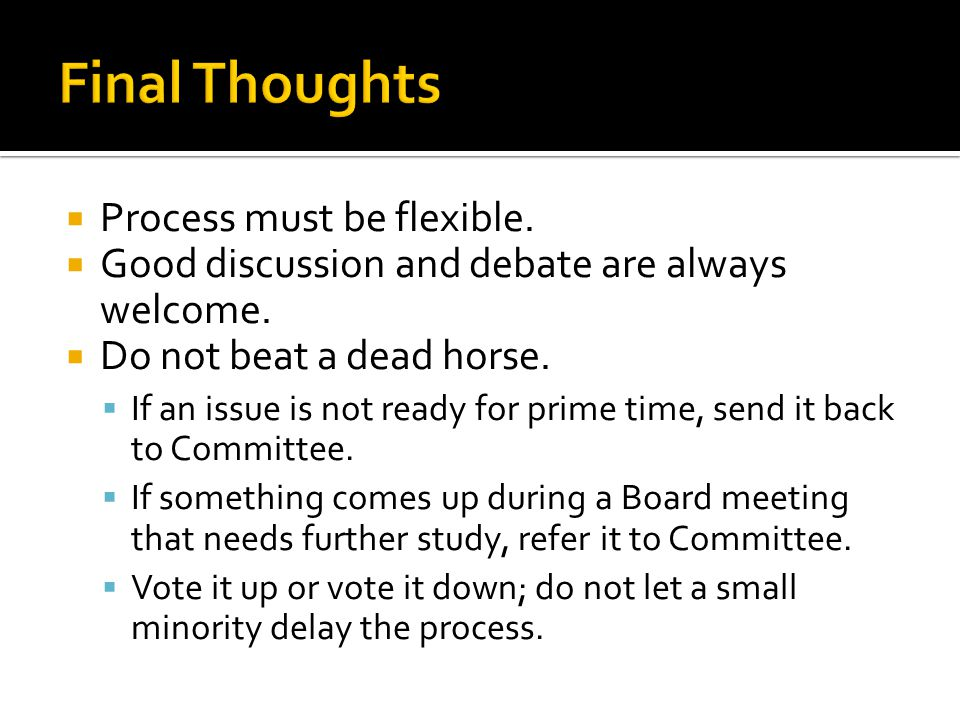  Process must be flexible.  Good discussion and debate are always welcome.  Do not beat a dead horse.  If an issue is not ready for prime time, se