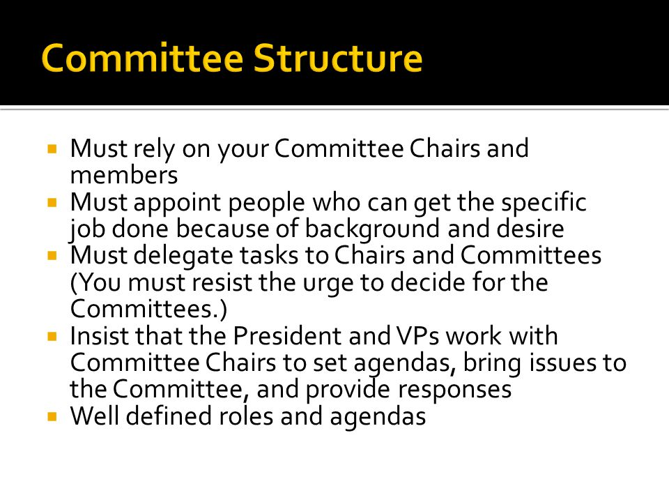  Must rely on your Committee Chairs and members  Must appoint people who can get the specific job done because of background and desire  Must delegate tasks to Chairs and Committees (You must resist the urge to decide for the Committees.)  Insist that the President and VPs work with Committee Chairs to set agendas, bring issues to the Committee, and provide responses  Well defined roles and agendas