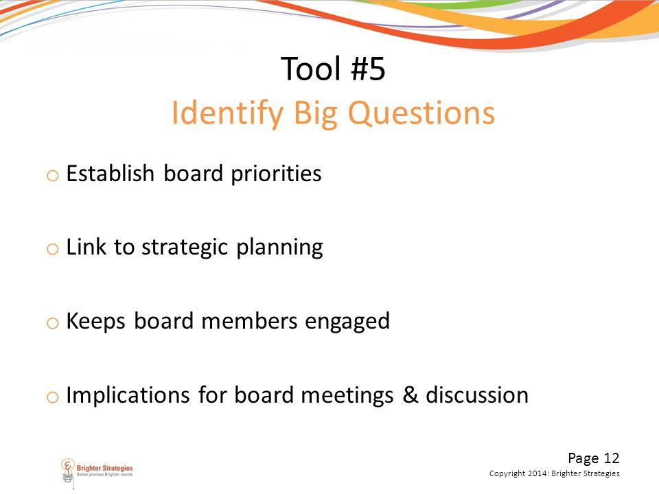 Page 12 Copyright 2014: Brighter Strategies Tool #5 Identify Big Questions o Establish board priorities o Link to strategic planning o Keeps board mem