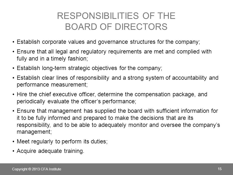 RESPONSIBILITIES OF THE BOARD OF DIRECTORS Establish corporate values and governance structures for the company; Ensure that all legal and regulatory requirements are met and complied with fully and in a timely fashion; Establish long-term strategic objectives for the company; Establish clear lines of responsibility and a strong system of accountability and performance measurement; Hire the chief executive officer, determine the compensation package, and periodically evaluate the officer's performance; Ensure that management has supplied the board with sufficient information for it to be fully informed and prepared to make the decisions that are its responsibility, and to be able to adequately monitor and oversee the company's management; Meet regularly to perform its duties; Acquire adequate training.