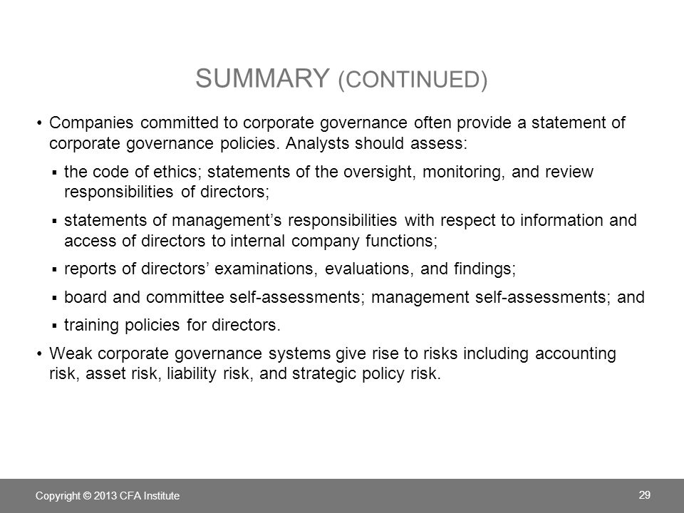 Companies committed to corporate governance often provide a statement of corporate governance policies.