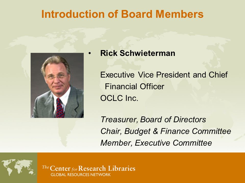 Rick Schwieterman Executive Vice President and Chief Financial Officer OCLC Inc.