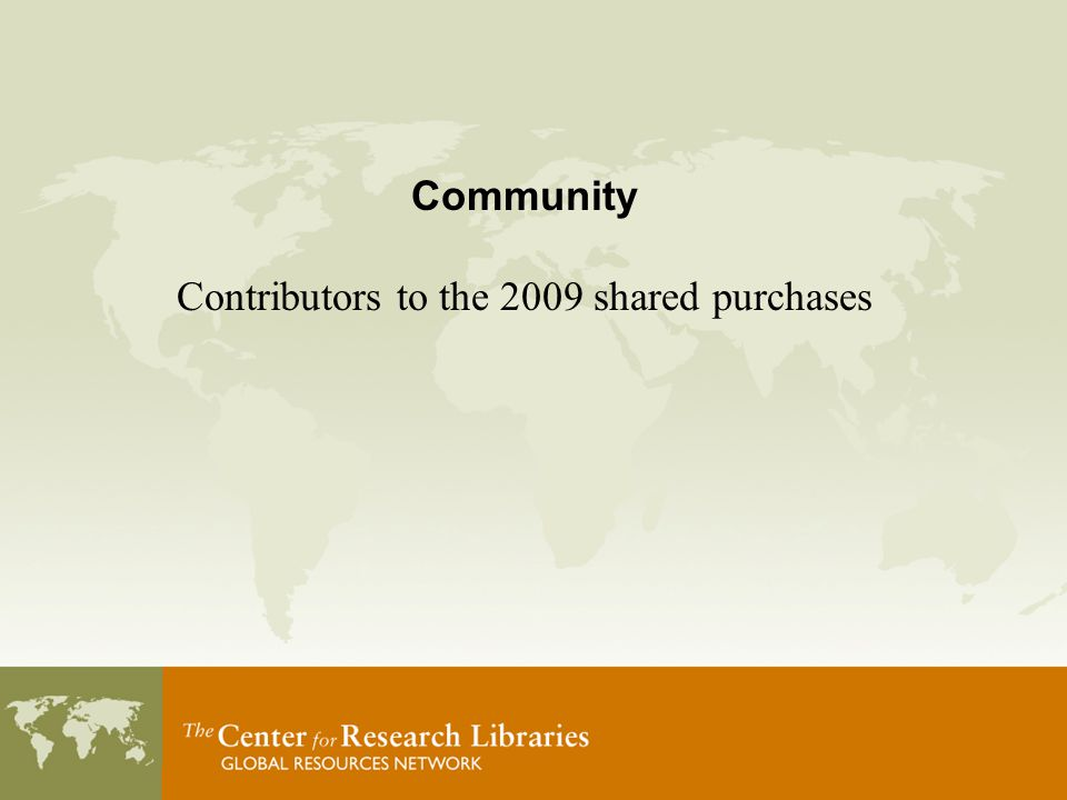 Community Contributors to the 2009 shared purchases